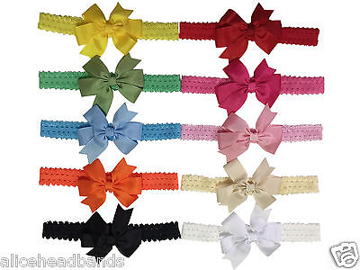 Baby Headbands Girls Grosgrain Double Bow Lace Elastic Made in UK + Lot