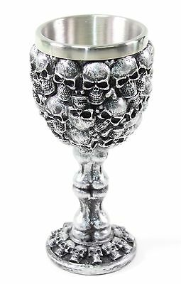Silver Skulls & Bones Wine Goblet Stainless Medieval Collectible Home Decor Gift