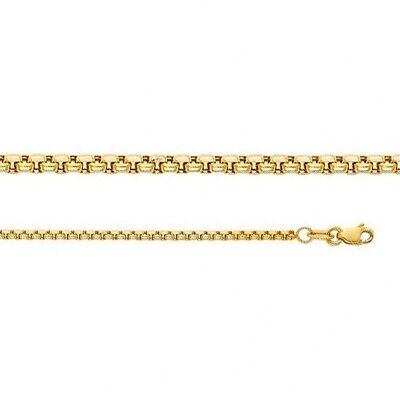 14k Yellow Gold Round Box Chain Necklace Solid Italy 1.8 mm Lobster 16 18 20 22