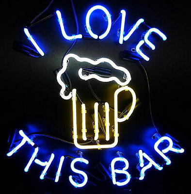 "Love This Bar Neon Sign Display Beer Bar Pub Mancave Garage Light 17""X14"""