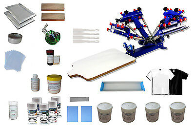 4 Color Screen Printing Starter Kit 1 Station Printer & Material Supply Package