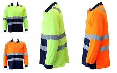 Hi-Vis Safety Workwear Long Sleeve Polo Shirt Top Reflective Tape Two tone