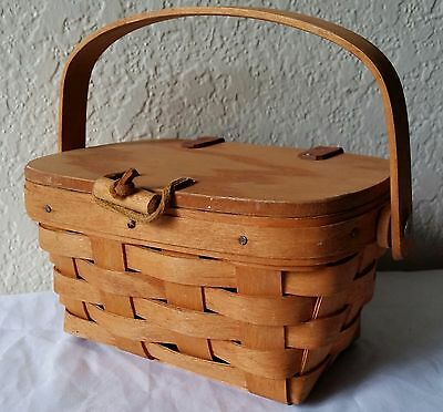 Vintage Small Wooden Longaberger 1990 Berry Basket Leather Straps Flip Top 7x5x4