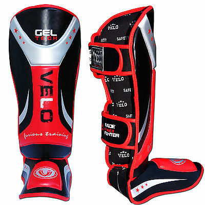 VELO Gel Shin Guard Pads MMA Leg Foot Guards Muay Thai Kick Boxing MMA Training