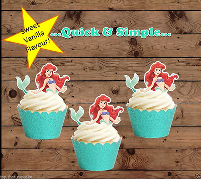 Ariel Little Mermaid half body EDIBLE wafer Cupcake Toppers birthday