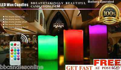 12 Colour 3X Led Real Wax Flameless Candles Remote Control & Timer  FAST AU POST
