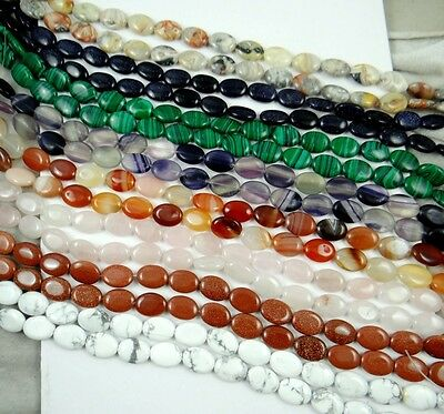 Wholesale Natural flat oval Mixed Agate Jewelry Making loose GEM bead strand 15""