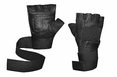 KANGO FITNESS Leather Padded Long Wrist Wrap Weight Lifting Gloves W-1045