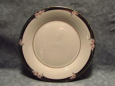 Enchantment by Royal Doulton Salad Plate Pink Flowers Black Band Gold Verge L134