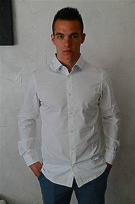Luxurious White Shirt M& François girbaud Linedrive S NEW SIZE Label