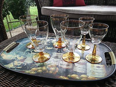Czech Crystal Wine Glasses Gilded with amber base.