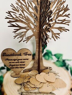 Personalised Guest Book Wishing Wedding Tree Rustic Marriage Love 100 Card Heart