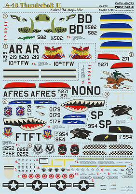 Decal For A-10 Thunderbolt Ii Part 2 1/48 Print Scale 48-073