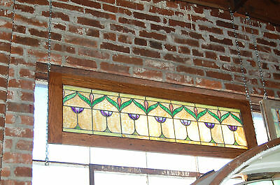 Antique Arts And Craft Stained Glass Window Tulip Pattern Great Vibrant Colors A