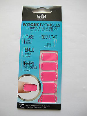 ELITE MODELS PATCHS ONGLES MAINS & PIEDS Rose fluo strass