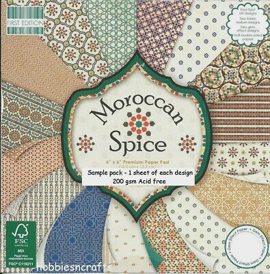Dovecraft Moroccan Spice Papers 6 X 6 Sample Pack - 1 Of Each Design - 16 Sheets