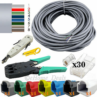 40M RJ45 Ethernet Network Cat6E Cable Crimping Punch Tool+Boots Connectors UK