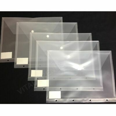 12 X A4 Plastic Stud Popper Punched Document Wallets Folders Poppers Ring Binder