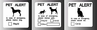 Pet alert dog cat emergency sign white- sticker decal cling magnet inside window