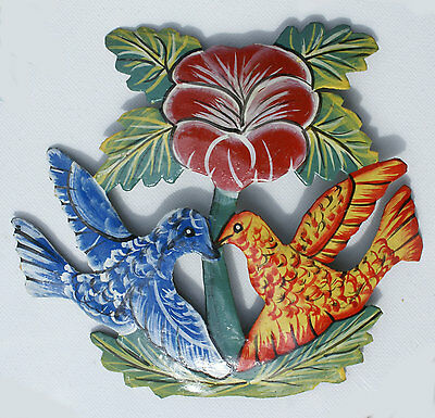 Two Colored Hummingbirds With Flower, Wall Art Metal Tropical Decor, 14x15cm
