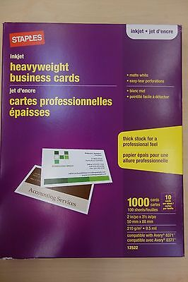 Staples Inkjet heavyweight Business Cards Matte White 1000 Cards