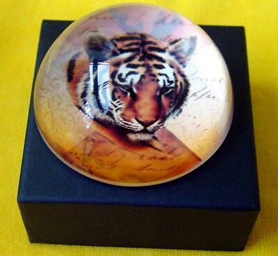 Crystal Domed Tiger Paperweight Boxed  - 8 cm high