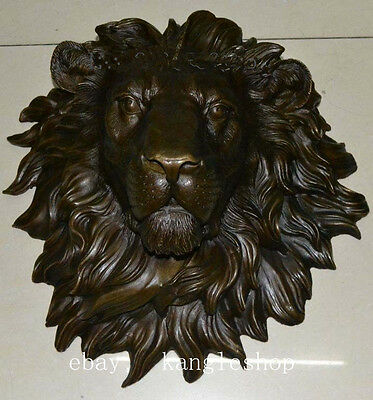 "The huge Lion head flat bronze sculpture statue The art hanging wall H""18.1"
