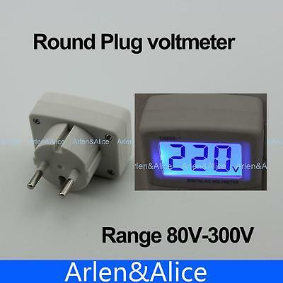LCD AC Digital Voltage meter Voltmeter Monitor 80-300V Switch EURO 2 Round Plug