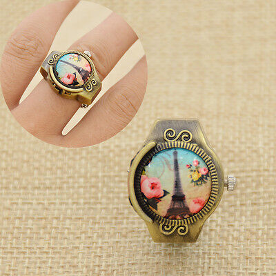 Retro Eiffel Tower Finger Ring Quartz Watch Vintage Novelty Girl Women's Gift
