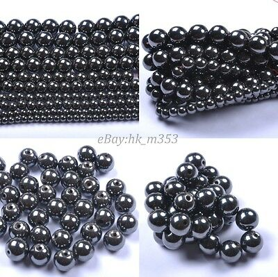 Black Ball Magnetic Hematite Charms Spacer BEADS - Choose 4MM 6MM 8MM 10MM 12MM