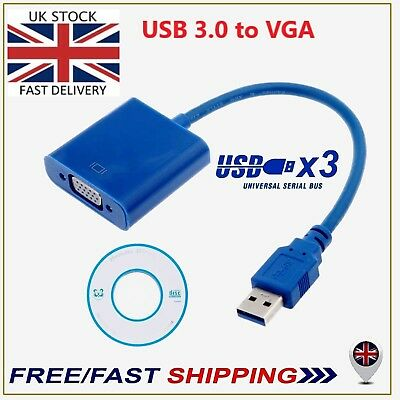 Blue 3.0 USB to VGA Display Cable Video Graphic Adapter For Windows 7/8/10