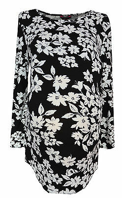 New Peacocks Maternity size 10 - 20 Black White Floral Monochrome Tunic Top