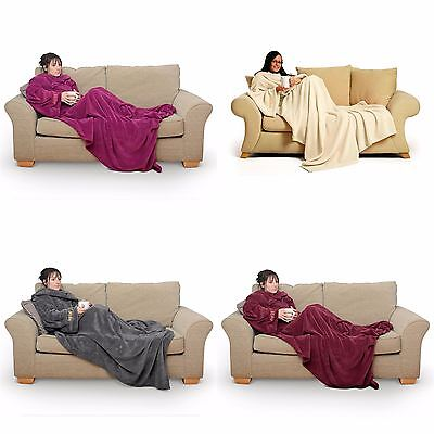 Snug Rug Deluxe Super Soft Coral Fleece The Adult Blanket with Sleeves
