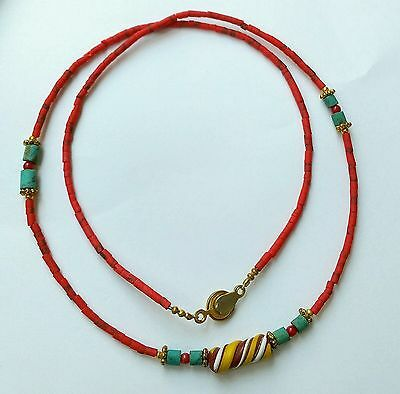 Afghan Natural Coral, Turquoise, Roman Glass Antique Pendant Tiny Beads Necklace