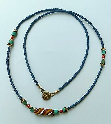 Afghan Natural Lapis, Turquoise, Roman Glass Antique Pendant Tiny Beads Necklace