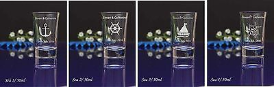72 Personalised Engraved Sea theme 60ml conical Shot Glass Wedding Birthday