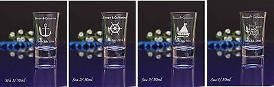 96 Personalised Etched Engraved 60ml conical Shot Glass Wedding Birthday Gift