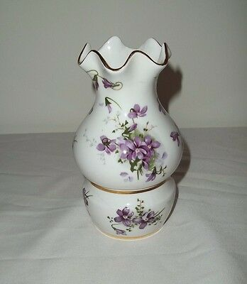 Hammersley Victorian Violets Night Light Bunches Flowers Gold Trim Discontinued