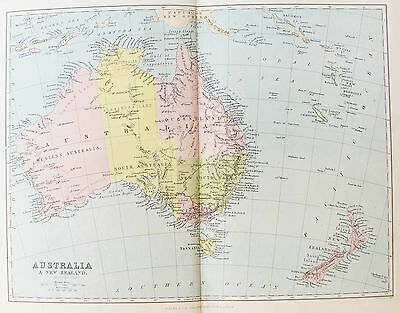 OLD ANTIQUE MAP AUSTRALIA NEW ZEALAND c1880's by BARTHOLOMEW PRINTED COLOUR