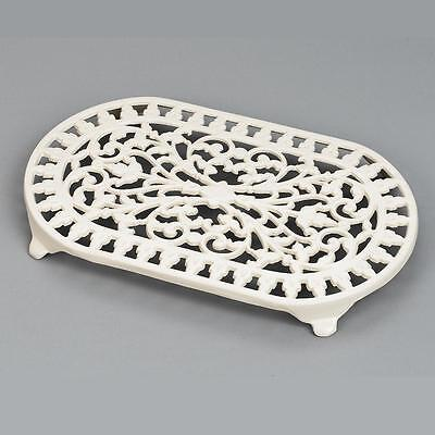 New Victor Robert Welch Cast Iron Trivet Pan Pot Stand Double ~ Ivory/champagne