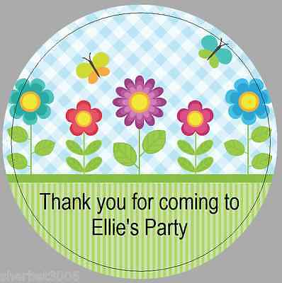 24 x 40mm personalised stickers round flowers butterfly labels party thank you