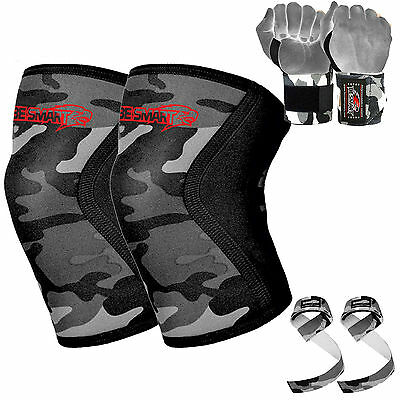 Lifters Knee Sleeves Pair Free Wrist Wraps Strap Crossfit/Powerlifting/Squatting