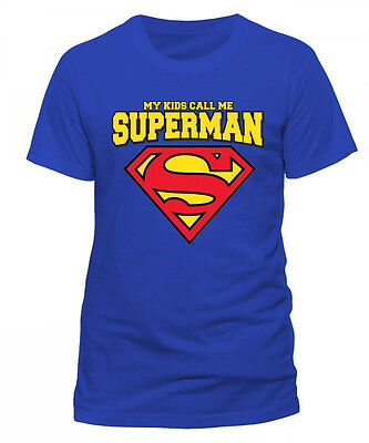 Superman Logo My Kids Call me Man of Steel DC Comics Männer Men T-Shirt Blau