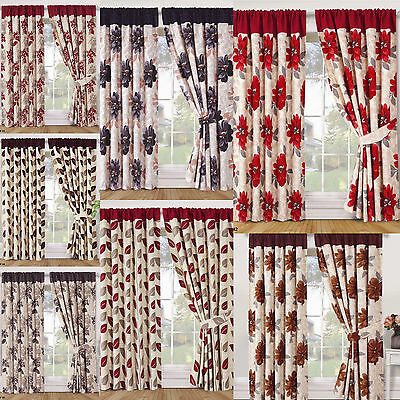 Ring Top Stylish Pair Of Ready Made Curtains Fully Lined With Two Tie Backs