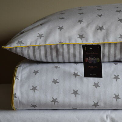 100%COTTON Single Cot  Bed Duvet Cover Set Girls Boys Grey Stripes Stars Yellow