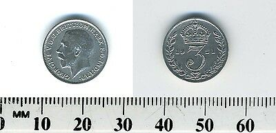 GREAT BRITAIN 1921 - 3 Pence Silver Coin - King George V