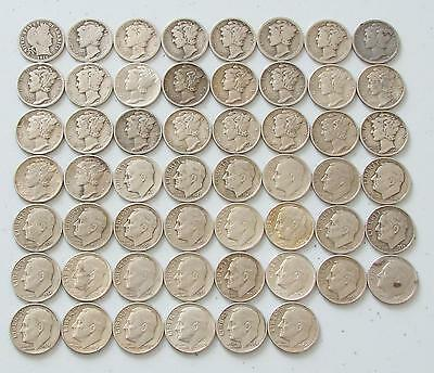 1916-64 United States Dime Collection, Mercury, Roosevelt, Silver Set, 54 Coins