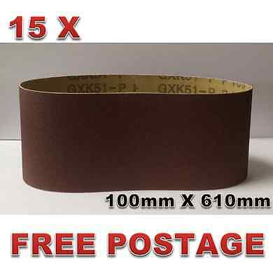 15pcs 100mm X 610mm Sanding Belts 40 - 400 Mixed Grit Heavy Duty Cloth Backed