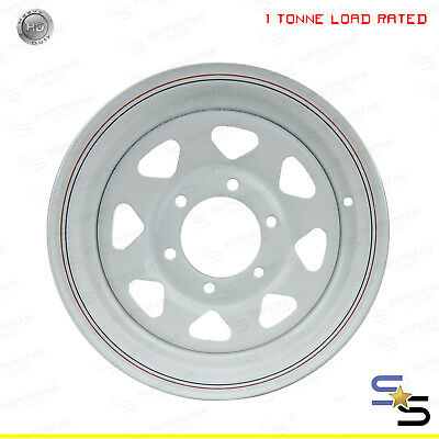 "14"" 14x6 6 STUD LANDCRUISER PATTERN WHITE HEAVY DUTY SUNRAYSIA WHEEL"
