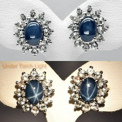 2.35ct Natural 6 Ray Blue Star Sapphire Earring With Topaz in Sterling Silver
